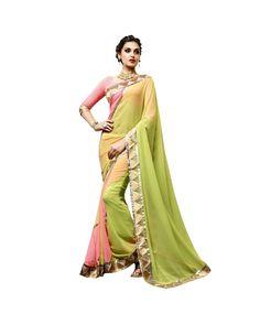 Green Zari Work Saree To know more or buy, please click Below:- http://www.ethnicstation.com/green-zari-work-saree-vl1770      #FestivalOffers