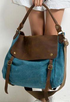 Womens Blue Handmade Canvas Leather Large Messenger Bag