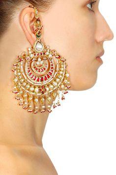 Gold plated kundan and pearl oversized chandbali earrings by Art Karat. Shop now: www. Gold Jhumka Earrings, Indian Jewelry Earrings, Indian Jewelry Sets, Fancy Jewellery, Jewelry Design Earrings, Indian Wedding Jewelry, Designer Earrings, Bridal Jewelry, Jewelery