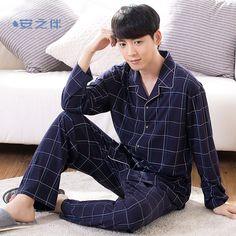 77ccff59f2 Click to Buy << Anzhiban 2017 Spring Men's Pajamas Sets Long-Sleeved  Fashion Plaid Casual Sleepwear Suit Cotton Male Household Clothing Pyjamas  #Affiliate
