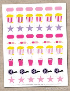Movie Printable Planner Sticker Set Pink & Purple Instant Download Movie Night or Girls Night Out Stickers PDF