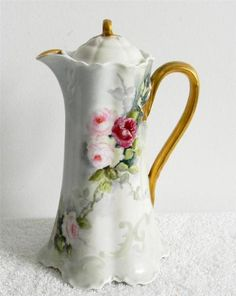 Haviland Limoges chocolate pot with flowers and gold accents - FREE SHIPPING