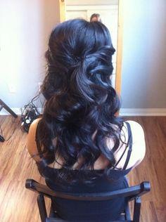 35 Ideas Bridal Hair Half Up Black Loose Curls Wedding Hair Half, Wedding Hair And Makeup, Wedding Beauty, Bridal Hair, Hair Makeup, Bridal Beauty, Dream Wedding, Formal Hairstyles, Pretty Hairstyles