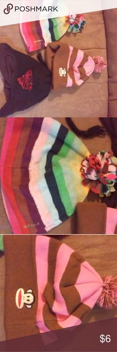 3 girls winter hats Old navy multi striped, pink /brown striped with monkey, and black /red rhinestones with ear flaps /strings Accessories Hats