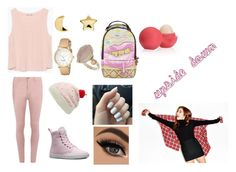 """pink puleese"" by magconloma ❤ liked on Polyvore featuring Zara, Dorothy Perkins, Kate Spade, Dr. Martens, Sprayground, Erica Weiner, Eos and Topshop"