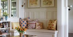 Love this combination of fabrics (Design Chic: In Good Taste: Charlotte Barnes)
