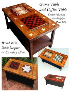 Americana Game Table and Coffee Table Coffee Table Games, Diy Coffee Table, Diy Table, Diy Yard Games, Backyard Games, Diy Games, Painted Coffee Tables, Painted Game Table, Army Decor