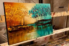 Modern landscape paintings on canvas. Eden is a hand-painted artwork, created by the artist Osnat Tzadok. An online art gallery of modern paintings - artwork id Fantasy Landscape, Landscape Art, Landscape Paintings, Oil Paintings, Blooming Trees, Palette Knife Painting, Modern Artwork, Modern Landscaping, Painting & Drawing