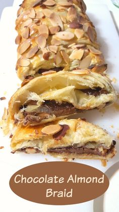 Chocolate Almond Braid ~ *My Note: OH MY! So delicious! And easy! Eat it while it is still warm, because the candy does harden when it gets cold. Good with ice cream. Brunch Recipes, Gourmet Recipes, Baking Recipes, Breakfast Recipes, Almond Recipes, Breakfast Dishes, Yummy Recipes, Fun Desserts, Delicious Desserts