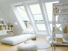 Attic bedroom in white
