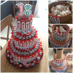 Kinderriegel & Co Geburtstagstorte - Gifts box ideas, Gifts for teens,Gifts for boyfriend, Gifts packaging Cute Birthday Gift, Diy Birthday, Birthday Parties, Chocolate Covered Coffee Beans, Cold Brew Iced Coffee, Elegant Desserts, Candy Cakes, Chocolate Bouquet, Candy Gifts
