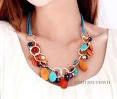 Charm Jewelry Crystal Chunky Statement Bib Pendant Chain Choker Necklace #Handmade #Charm
