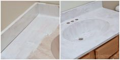 Did you know you can update your bathroom integral sink with paint? Learn how with this budget-friendly painted bathroom sink and countertop makeover. Painting Countertops, Cheap Countertops, Laminate Countertops, Concrete Countertops, Cement Counter, Wooden Counter, Granite, Countertop Makeover, Sink Countertop