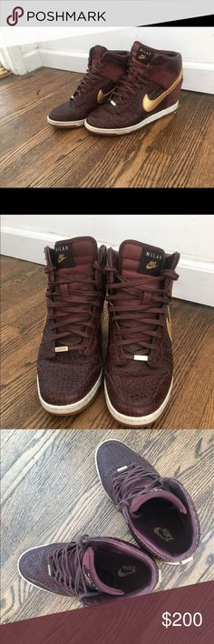 """Nike sky high dunk - wedge sneakers - Milan Limited edition """"City"""" series in Milan. Hidden wedge. Crocodile stamped leather, gold leather swoosh, suede wrapped wedge.  Rubber sole, no box. Nike Shoes"""
