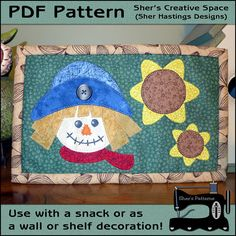 PDF Pattern for Scarecrow Mug Rug - Halloween Mini Quilt #halloween #scarecrow #mugrugs