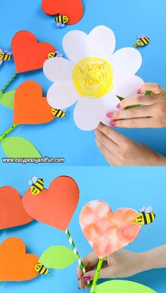 This paper heart flower craft is perfect both for Mother's day (a great alternative to your regular Mother's day card) or for V-day. diy and crafts Paper Heart Flower Craft with Template Paper Crafts For Kids, Diy Arts And Crafts, Creative Crafts, Easy Crafts, Craft With Paper, Decor Crafts, Diy Paper Crafts, Mothers Day Crafts For Kids, Cardboard Crafts