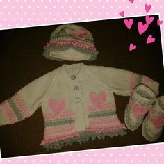 A very pretty newborn set comprising jacket, hat and boots. Rock-a-Bye Babyknits