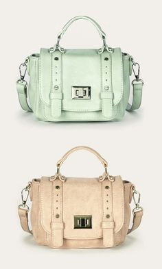 Mini messenger bag in mint and blush with a top handle