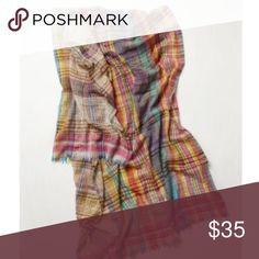 Anthropologie | colorful plaid oversize scarf Gently worn plaid wool scarf from Anthropologie. Super warm and so fun to wear on a cold day. Very clean and comes from pet and smoke free home. Anthropologie Accessories Scarves & Wraps