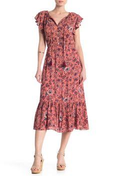 Crimson in Grace Tassel Ties Printed Dress Vintage Cotton, Nordstrom Dresses, Cap Sleeves, Tassels, Floral Prints, Summer Dresses, Casual, How To Wear, Nordstrom Rack