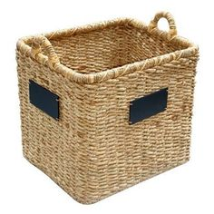 Smith & Hawken Square Basket With Chalkboard - modern - baskets - Target Bench With Shoe Storage, Toy Storage, Storage Baskets, Laundry Storage, Storage Ideas, Contemporary Baskets, Modern Baskets, Vintage Baskets, Houston