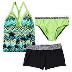 1822e6e915215 Chevron, polka-dots and palm trees give this girls' ZeroXposur swimsuit set  the girly summer look that she wants.