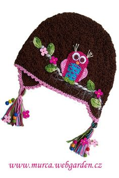 Owl ear flap cap with crocheted appliques - Love the use of buttons