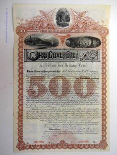 WV Ohio Coal and Oil Company 1891 $500 6% Mortgage Bond Specimen ABN XF