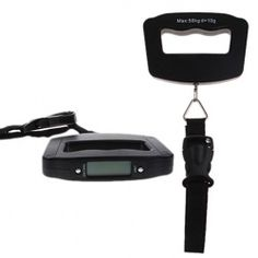 Practical 50kg / 10g Pocket Electronic Digital LCD Luggage Travel Weighing Scale Handheld Balance Scale with Hanging Strap - Black