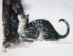 Женщины в истории - Изображения кошек  The Watchful Cat, John Alonzo Williams (1869–1947)