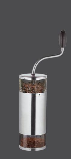 Zassenhaus Serie Lima  Edelstahl / Acryl Kaffeemühle mit Zassenhaus-Mahlwerk aus Hochleistungskeramik, mit stufenloser Grob-/Feineinstellung und praktischem Auffangbehälter - AKANTUS Design Höhe: 31 cm Durchmesser: 7