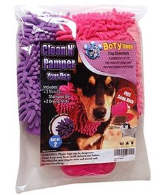 BoTy Dogs Clean N Pamper Bundle One Natural Shampoo Bar Moisturizing Dog Soap 2 Chenille Dog Drying Mitts Free Matching Soap Dish 4 oz * Want additional info? Click on the image.