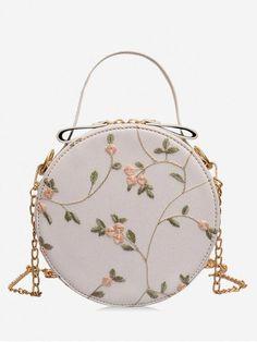 Lelili Women Messenger Bags Rose Embroidery Metal Strap Chain Crossbody Shoulder Bags