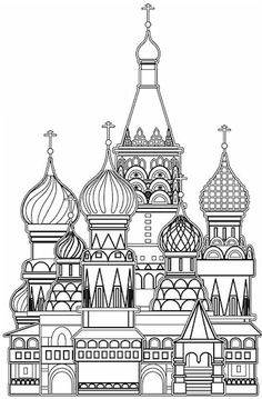 Church Coloring Page 11 free sample Join fb gr Coloring Pages For Grown Ups, Coloring Book Pages, Printable Coloring Pages, St Basils Cathedral, St Basil's, Fairytale Fantasies, Ecole Art, Horror Art, Oeuvre D'art
