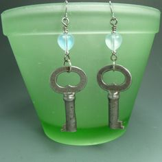 Handmade Earrings   Vintage Key   Heart by Hyacinthsbyme on Etsy, $14.00