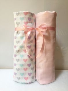 Muslin Gauze Swaddle Baby Blanket Newborn Girl Gift Receiving Blanket Nursery Bedding Baby Accessories Gray Pink Teal Purple Hearts Infant by SewThoughtfulBlanket on Etsy