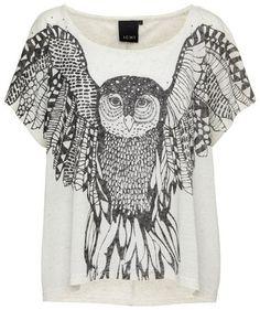 Ichi - Damen T-Shirt mit Eulen-Print #owls #fashion #engelhorn #fall #trends