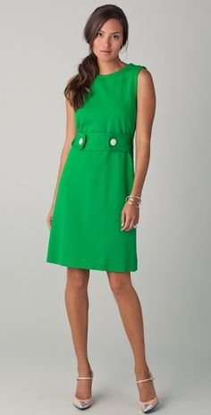 """Milly gorgeousness. I love this green sleeves dress! The """"belt"""" with the white buttons is a great touch."""