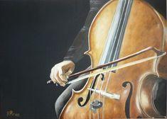Cellist. Yağlı boya tablo / 50x70 . Sanatçı : Hüsamettin Piraz