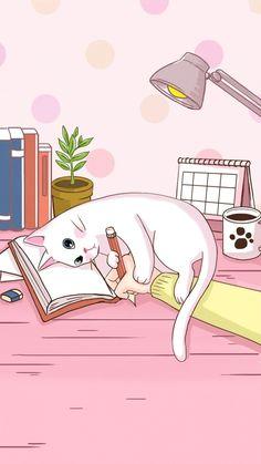 Cat Phone Wallpaper, Kawaii Wallpaper, Pink Wallpaper, Screen Wallpaper, Study Room Decor, Digital Art Girl, Aesthetic Wallpapers, Cat Art, Cute Drawings