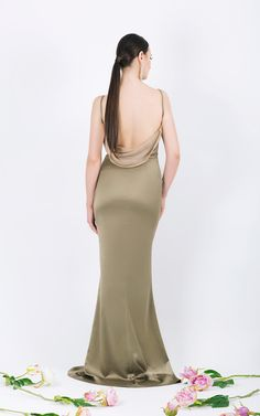 Long evening gown      Draping top     <span...