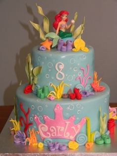 The Little Mermaid Cakes — Classic Style : Professional Little Mermaid Cakes Ideas Little Mermaid Cakes, Mermaid Birthday Cakes, Little Mermaid Parties, Birthday Cake Girls, The Little Mermaid, Birthday Ideas, 7th Birthday, Sirenita Cake, Ariel Cake