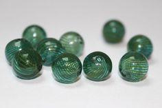 Hand blown hollow glass beads dark green by allthatglittersbeads, $6.20