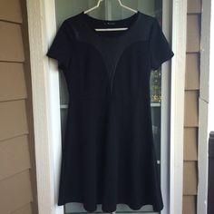 Neesha Faux Leather Insert Dress EUC only worn twice! Beautiful classic black dress with slight fit and flare to flatter a larger bottom half! The faux leather insert adds a subtle edge to this sweet dress. Boutique Dresses