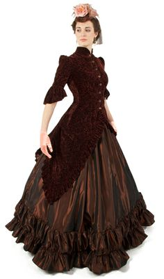 Ava Polonaise Ensemble: I want this reproduction outfit. Victorian Fashion, Vintage Fashion, Modern Victorian, Vintage Couture, Victorian Gothic, Retro Fashion, Long Cocktail Dress, Cocktail Dresses, Victorian Costume
