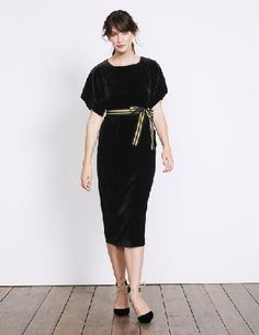 #Boden Robyn Velvet Dress Black Women Boden, Black #Vintage kimonos inspired the sleeve detailing on this elegant, fully-lined dress. Its made from luxurious velvet, with a touch of silk for a delicate drape, and comes with a two-tone, detachable grosgrain belt so you can style it your way. More excellent news: it has pockets.