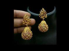 Gold Jhumka Earrings, Gold Bridal Earrings, Gold Wedding Jewelry, Jewelry Design Earrings, Gold Earrings Designs, Designer Earrings, Gold Earrings With Price, Latest Earrings Design, Gold Jewelry