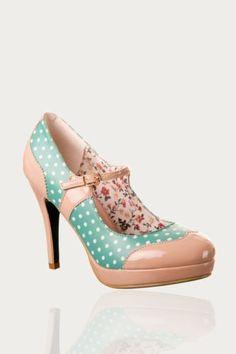 30a77b7d MARY JANE Shoes by Banned POLKA DOT 50s Rockabilly Heels BEIGE MINT GREEN 6  7 8