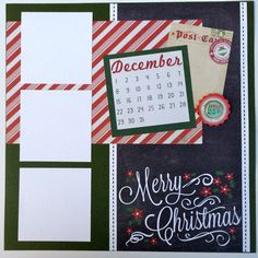 Inspiration Only: Could use the calendar embellishment for different holidays or milestones. Christmas Scrapbook Pages Kit or by ArtsyAlbums Scrapbook Layout Sketches, 12x12 Scrapbook, Disney Scrapbook, Scrapbook Paper Crafts, Scrapbooking Layouts, Couple Scrapbook, Christmas Scrapbook Layouts, Christmas Layout, Noel Christmas