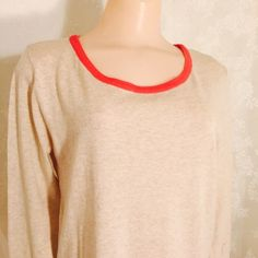 Top w/pink trim Love it, mean it. Long sleeves, light weight, pink trim, gold buttons, pockets, 100% cotton. Tops
